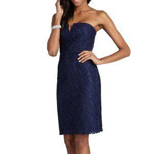 DONNA MORGAN blue lace Quinn bridesmaid dress 2
